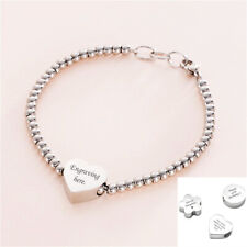 Personalised Charm Bead Bracelet, Any Engraving, Heart, Flower or Round Charm