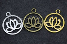 8/40/200pcs Antique Silver Exquisite Lotus Jewelry Finding Charm Pendant 24x20mm