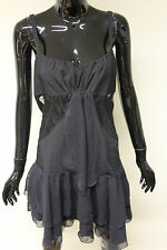 Morgan De Toi womens black tiered cut out back lace panelled skater dress