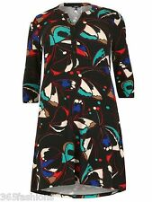 SAMYA PLUS SIZE BUTTERFLY PRINT BUTTON TUNIC DRESS BLACK 16 18 20 22 24 26 28