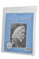 Clear Rain Bonnets 3 Pack Hair Protection Hood Tie Fastening Dye Festival Cover