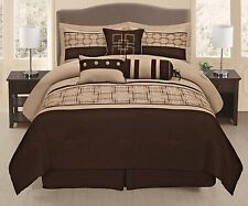 7Pieces Embroidery Square Design Chocolate Brown Beige Comforter Set Bed in Bag