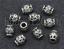15/60/300pcs Antique Silver Cylinder Flower Spacer beads Charms Jewelry 6x5mm