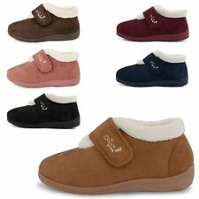 WOMENS DUNLOP DELORIS PLUSH VELOUR LINED WIDE FITTING STRAP SLIPPER BOOTS SHOES