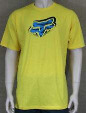 Fox Racing Glitched Graphic Tee Mens Yellow Regular Fit Crew T-Shirt New NWT