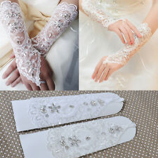 Bridal Crystal Fingerless Long Gloves Wedding Costume Dress Sequins Lace Satin