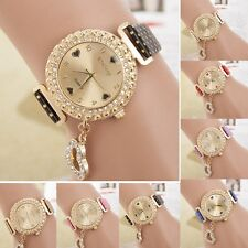 Fashion Women Bracelet Bangle Leather Crystal Dial Quartz Analog Wrist Watch