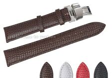12~20mm Genuine Leather Lizard Grian Fold Deployant Buckle Watch Band Strap