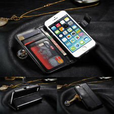 Black Genuine Luxury PU Leather Flip Wallet Photo Slot Case Cover For Cell Phone