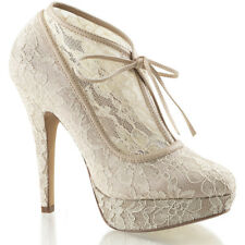 Fabulicious LOLITA-32 Mesh Lace Over Lay Ankle Boot Champagne Sexy Shoes Heels