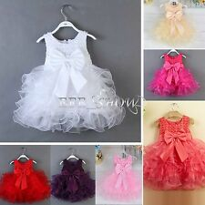 Toddler Baby Kid Girls Princess Party Tutu Tulle Bow Flower Infant Dress Newborn
