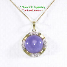 14k Solid Yellow Gold Two Tone 13mm Cabochon Lavender Jade Pendant TPJ