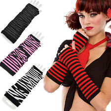 Stretchy Gothic Punk Rave Costume Fingerless Long Gloves Striped Arm Warmers