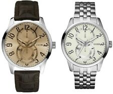 Guess Inner Circle Gents Watch Leather Stainless Steel