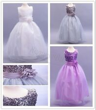 Kids Flower Girls Dress Princess Sequin Tulle Bridesmaid Party Wedding Clothes