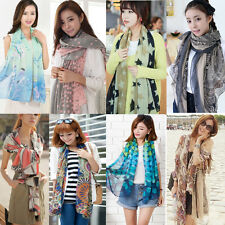 Womens Fashion Print Cotton Long Scarf Wrap Large Shawl Chiffon Scarves Stole