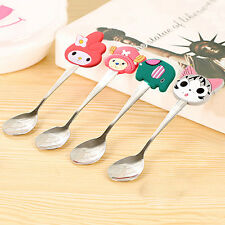 Kids Stainless Steel Spoon Cartoon Silicone Handle Coffee Spoons Kitchen Latest