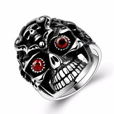 Unique Men's Black 316 Stainless Steel Antique Ruby Eyes Skull Punk Ring Jewelry