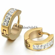 New Men Women 4mm Stainless Steel Shining Rhinestone Huggie Hoop Hinged Earrings
