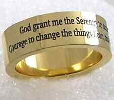 Gold Serenity Prayer Ring Stainless Steel Recovery 12 Step AA Unisex 7 mm