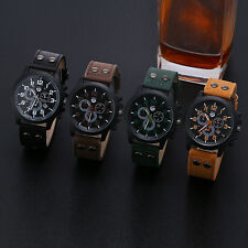 Vintage Men Watch Classic Waterproof Date Leather Strap Sports Quartz Army Watch