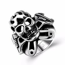 Men's Silver 316L Stainless Steel Caribbean Sea Skull Punk Ring Gothic Jewelry