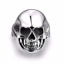 Men's Silver 316L Light Stainless Steel Vintage Skull Punk Ring Gothic Jewelry