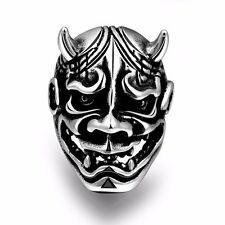 Men's Black Silver Stainless Steel Vintage Cattle Devil Punk Ring Gothic Jewelry