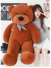 HUGE SOFT 100% COTTON TOY GIANT CUTE DARK BROWN PLUSH STUFFED TEDDY BEAR 120CM