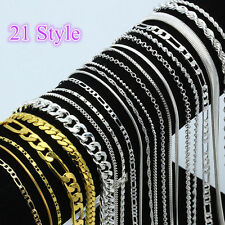 Wholesale Men Women 925 Silver Chain Necklace 16-30inch Jewelry 12 Style