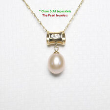 14k Solid Yellow Gold Tunnel Design Bale Diamond Pink Cultured Pearl Pendant TPJ