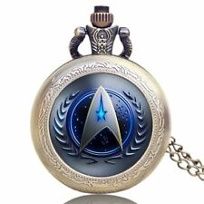 Star Trek United Federation Of Planets Quartz Pocket Watch Necklace Mens Gift