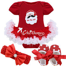 Newborn Baby Girl Christmas Fancy Costume Romper Tutu Dress Outfit Clothing 0-9M