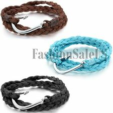 Men's Women's Multilayer Velvet Rope Braided Fish Hook Wrap Bracelet Charm Cuff