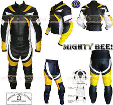 MIGHTY BEE MENS CE ARMOUR MOTORBIKE / MOTORCYCLE LEATHER JACKET & SUIT
