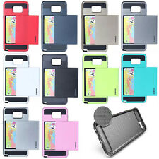 Luxury Hard Armor Back Cover Case With Slide Card Slot Holder For Samsung&iPhone