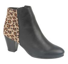 BRAND NEW LADIES GIRLS LEOPARD PRINT BLACK COMFY CASUAL ANKLE SHOE BOOT