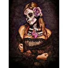 Get Down Art Day of the Dead Lace Canvas Giclee Day of the Dead Girl Skeleton