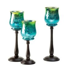 MEDITERRANEAN CANDLE HOLDER A TRIO OF GORGEOUS GLASS(3)