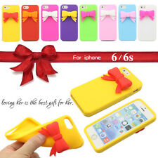 3D Lovely Bow Tie Butterfly Bowknot Gel Silicone Soft Case For iPhone 6 6S 4.7""