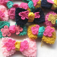 Trim Crochet Ribbon Flowers Bows Winter Appliques Wedding Deco Mix