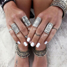 Beauty Lady Carved Chunky Vintage Silver Ethnic Wide Women's Band Ring Hot Sal