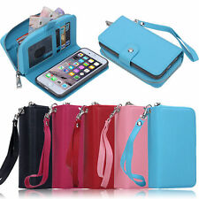 Zipper Wallet  PU Leather Phone Case Cover Card Cash Purse For iPhone 7 6S Plus