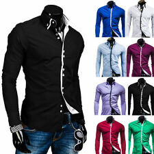 Fashion Luxury Mens Stylish Slim Fit Long Sleeve Dress Formal Casual Shirt Tee