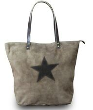 Made in Italy Ladies Shoulder Bag Pouch Pocket XL Shopper Leather STAR Vintage