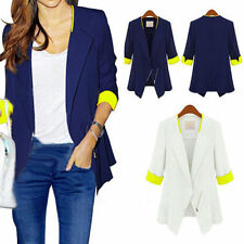 New Casual Womens Lady Slim Career Long Blazer Trench Coat Jacket Suit Outerwear