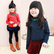 2-7Y Child Baby Girls Dot Turtleneck Long Sleeve Tops T-Shirt Pullover Blouse
