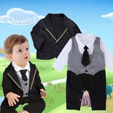 Toddler Baby Boy Clothes Tuxedo Tops Coat Tie Shirt Romper Outfits Clothing Set