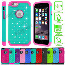 Hybrid Rugged Rubber Bling Crystal Hard Case Cover For iPhone 4S 5S SE 6 6S Plus