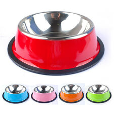 Stainless Steel No-Slip Pet Dog Bowl Puppy Cat Food Drink Water Dish With Bone H